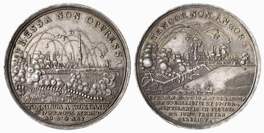 Frederick IV of Denmark. Medal 1700 on the besiegement of Tönning. Both sides clearly show that bombards were used, which could shoot behind the city walls. From Baums Collection, Künker sale 116 (2006), No. 4636.