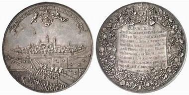 The Prince of Orange commands the attack on the city of Hulst from his temporary fortress. Medal from 1645, Jan van Loof. From Baums Collection, Künker sale 116 (2006), No. 4247.