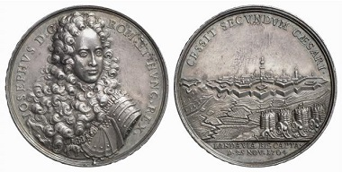 This medal from 1704 on the capture of Landau clearly shows the wickerwork baskets that were used as protection for the canons. From Baums Collection, Künker sale 116 (2006), No. 4556.