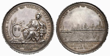 The communication trenches in front of the city are clearly visible. Medal from 1708 on the capture of Lille. From Baums Collection, Künker sale 116 (2006), No. 4228.
