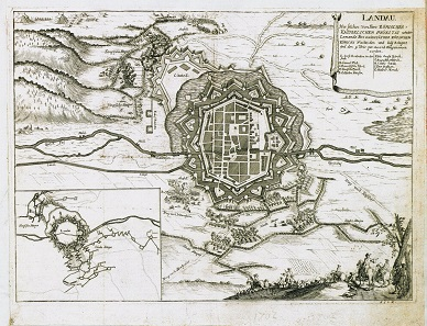 Map of the city of Landau, with the zick-zack-shaped trenches clearly visible in the foreground, dug during the attempt to capture the city. Copperplate engraving of 1702.