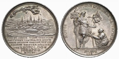 The formal handover of the keys constituted part of the ceremonies with which a city surrendered before the assault. Medal 1690 on the capture of Kanischa. From Baums Collection, Künker sale 116 (2006), No. 4410.