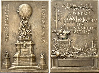 Bronze plaque no date (1906) by P. Tasset on the memorial to the aeronauts killed during the Siege of Paris. From Gorny & Mosch sale 234 (2015), No. 4546.
