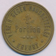 Eine Erfurter Bettelmarke, ausgegeben vom Verein gegen Hausbettelei.