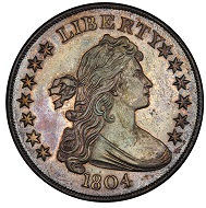 USA. Dexter Silver Dollar 1804. Class I Original. Bowers Borckardt-304. Rarity-7. Proof-65 (PCGS). Estimate: 3,000,000-5,000,000 USD.