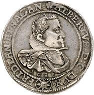 Lot 6849: Albrecht von Wallenstein, 1623-1634. Duke of Friedland. Reichstaler 1628, Gitschin. Extremely rare variant. Good very fine. Estimate: 20,000,- euros. Hammer price: 32,000,- euros.