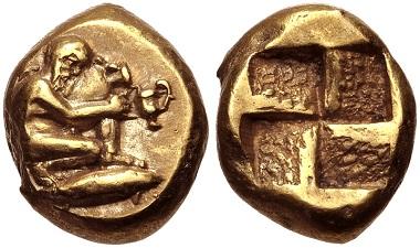 Lot 117: Mysia, Kyzikos. EL Hekte-Sixth Stater, circa 550-450 BC. Near EF. Estimate: 1,000 USD.