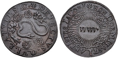 Lot 565: Stuart. Temp. James I, 1603-1625. CU Jeton. Good VF. Estimate: 100 USD.