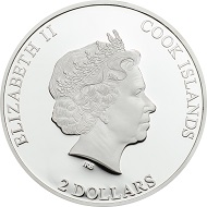Cook Islands / 2 Dollars / Silber .999 / 1/2 Unze / 50 mm / Auflage: 999.