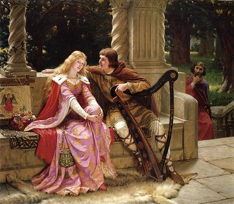Tristan and Isolde. Oil painting by Edmund Leighton, 1902.