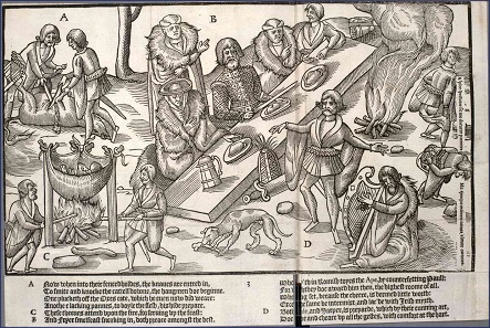John Derrick, The Image of Ireland, published in 1581. The chief of the Mac Sweynes seated at dinner.