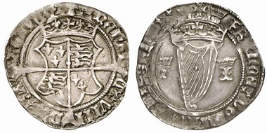 Henry VIII, 1509-1547. Groat no date (1534-1540), London. The crowned monograms of Henry VIII and Jane Seymour on the right and the left of the Irish coat of arms. From Künker sale152 (2009), No. 5279.