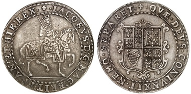 James I, 1603-1625. Crown no date (1604/5), London. From Künker sale 254 (2014), No. 2206.
