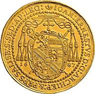 Lot 1629: Salzburg: Johann Ernst von Thun und Hohenstein. 10 ducats. Extremely fine.