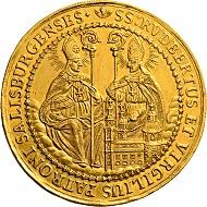 Los 1629: Salzburg. Johann Ernst von Thun und Hohenstein. 10 Dukaten 1687. F. 823. Äußerst selten. Vorzüglich.