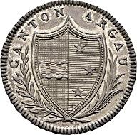 Los 1313: Aargau, Kanton. Probe-20 Batzen 1809, Aargau. HMZ 2 - 20a. Vorzüglich/Stempelglanz.