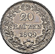 Lot 1313: Canton of Aargau. 20 Batzen pattern 1809, Aargau. Extremely fine/proof like.