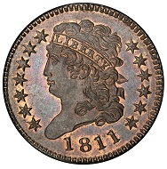 USA. Classic Head Half Cent 1811.Cohen-1, Breen-1. Rarity-4. Mint State-66 RB (PCGS). Realized: 998,750 USD.
