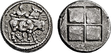 Los 68: Thrako-Makendonische Stämme. Orreskioi. Oktodrachmon. 530-480 v. Chr. Taxe: 8.000 EUR.