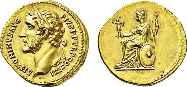 Los 488: Römisches Kaiserreich. Antoninus Pius. 138-161 n. Chr. Aureus. Taxe: 14.000 EUR.