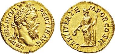 Los 534: Römisches Kaiserreich. Pertinax. 193 n. Chr. Aureus. Taxe: 25.000 EUR.