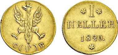 Los 1168: Frankfurt. Dukat 1820 Goldabschlag von den Stempeln des 1 Heller 1820. Taxe: 3.000 EUR.
