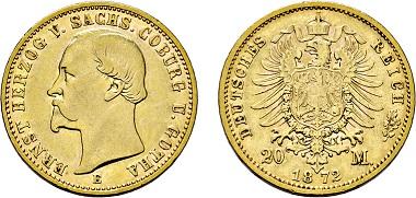 Los 1861: Herzogtum Sachsen-Coburg-Gotha. Ernst II. 1844-1893. 20 Mark 1872 E. Taxe: 40.000 EUR.