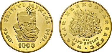 Los 2282: Volksrepublik Ungarn. 1945-1989. 1000 Forint 1966. Taxe: 10.000 EUR.