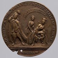 Maria Theresia. Satirische Medaille. Unbekannter Medailleur, 1744. Buntmetall. Wien, Kunsthistorisches Museum, Münzkabinett. Inv.-Nr. 128543. © KHM-Museumsverband.