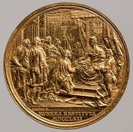 Maria Theresia. Medaille auf die Wiederherstellung der Hofämter in Siebenbürgen. Franz Würth, Wien, 1762. Gold. Wien, Kunsthistorisches Museum, Münzkabinett. Inv.-Nr. 1862bBeta. © KHM-Museumsverband.