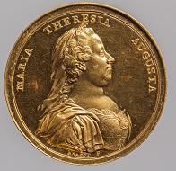 Maria Theresia. Medaille auf die Erneuerung der Universität zu Pavia. Johann Martin Krafft, Wien, 1770. Gold. Wien, Kunsthistorisches Museum, Münzkabinett. Inv.-Nr. 1795bBeta. © KHM-Museumsverband.