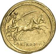 No. 381. Augustus. Aureus, 29 B. C., Rom. RIC 261. Calicó 185. Rare. About extremely fine. Estimate: 6,500 Euros. 36,800 Euros.