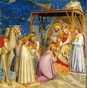 Anbetung der Heiligen Drei Könige, Fresko von Giotto in der Cappella degli Scrovegni in Padua.