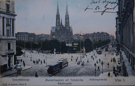 Votive church. Postcard, date stamp 15 April 1908.