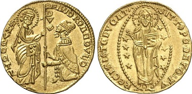 The original ducats: Venice. Andreas Dandolo, 1342-1354. Ducat n.y. From Gorny & Mosch sale 205 (2012), No. 4160.