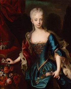 Maria Theresia im Alter von 10-12 Jahren. Gemälde von Andreas Möller um 1727.