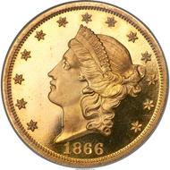 Liberty Double Eagle 1866, PR65 Cameo.