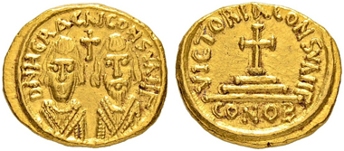 Lot 183: Solidus of the Revolt of the Heraclii. Extremely rare. Extremely fine. 10,000 CHF.