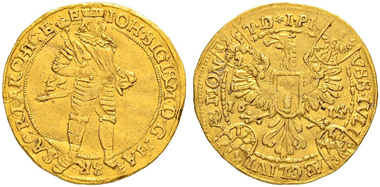 Lot 1150: Germany. Brandenburg, Prussia. Johann Sigismund, 1608-1619. Dukat 1614. Of the highest rarity. Very fine. 15,000 CHF.