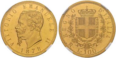 Lot 1492: Italien. Vittorio Emanuele II. 100 Lire 1878 Roma. Nur 294 Expl. geprägt. Kabinettstück FDC. 90.000 CHF.