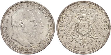 Lot 3407: Germany. Louis III. 1913-1918 3 Mark 1918 D. About uncirculated. 25,000 CHF.