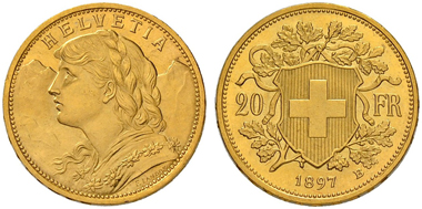 Lot 4893: Switzerland. Confederation. 20 Franken 1897 B. Cabinet piece. Brilliant uncirculated. 75,000 CHF.