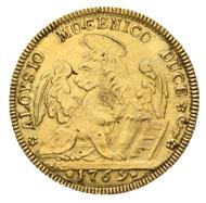 Italien, Venedig. Alvise IV. Mocenigo 1763-1778. 4 Zecchini 1769. Von größter Seltenheit. Vorzüglich.
