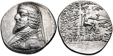 Lot 318: Kings of Parthia. Phraates III. Drachm, circa 70/69-58/7 BC. From the Parthicus Collection. EF. Estimate: 500 USD.