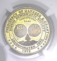Lot 1: Isaac F. Wood Memorial series medal honoring president Grant, in brass, 1873. NGC MS64.