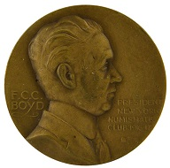 Lot 65: New York Numismatic Club medal honoring F.C.C. Boyd. Very near uncirculated.