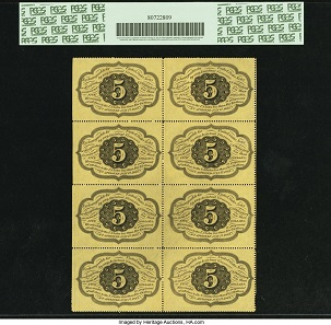 Fr. 1229 5-Cent notes. First Issue Block of Eight PCGS Choice About New 58PPQ.