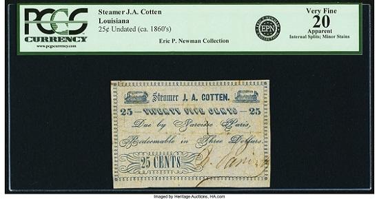 Unknown, LA. Due by Narcisse Paris. Steamer J. A. Cotten 25 Cents Undated (ca.1862). PCGS Very Fine 20 Apparent.