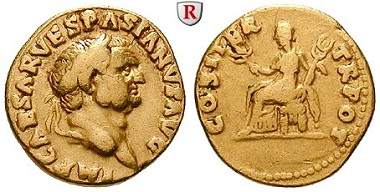 Römische Kaiserzeit. Vespasianus, 69-79. Aureus, 69-70, Rom. Sehr schön. 3.500 EUR.