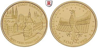 BRD. Gedenkprägung 100 Euro 2004 A-J. Stempelfrisch. 650 EUR.